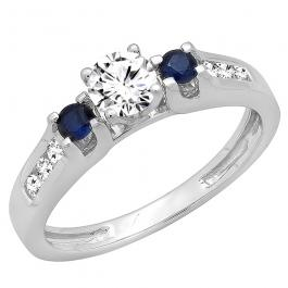 10K White Gold Round White & Blue Sapphire & White Diamond Bridal Engagement Ring