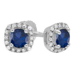 10K White Gold 6 MM Each Round Blue Sapphire & White Diamond Ladies Halo Style Stud Earrings