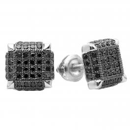 0.40 Carat (ctw) Sterling Silver Black Rhodium Plated Round Black Diamond Mens Iced Stud Earrings