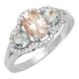 18K White Gold Oval Morganite, Round Aquamarine & White Diamond Bridal 3 Stone Engagement Ring