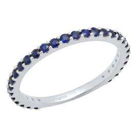 10K White Gold Round Blue Sapphire Ladies Anniversary Wedding Stackable Band