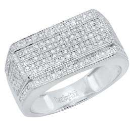 0.76 Carat (ctw) 10K White Gold Round White Diamond Men's Flashy Hip Hop Pinky Ring 3/4 CT