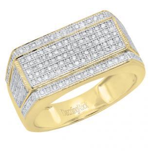 0.76 Carat (ctw) 10K Yellow Gold Round White Diamond Men's Flashy Hip Hop Pinky Ring 3/4 CT