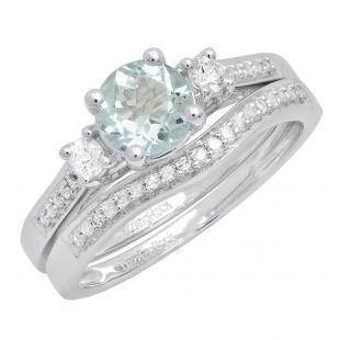 10K White Gold 6 MM Round Aquamarine, White Sapphire & Diamond Ladies 3 Stone Engagement Ring Set