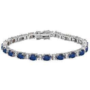 Sterling Silver 6X4 MM Each Oval Blue Sapphire & Round White Topaz Ladies Tennis Bracelet