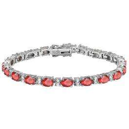 Sterling Silver 6X4 MM Each Oval Ruby & Round White Topaz Ladies Tennis Bracelet