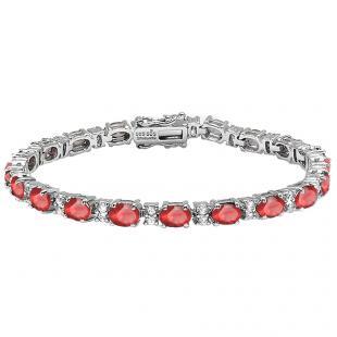 Sterling Silver 6X4 MM Each Oval Ruby & Round White Topaz Ladies Tennis Bracelet