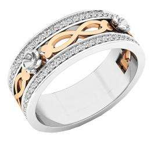 0.22 Carat (ctw) 18K White & Rose Gold Two Tone Round White Diamond Fancy Anniversary Wedding Band