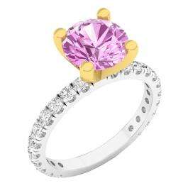 18K White & Yellow Gold Two Tone Gold Round Pink & White Cubic Zirconia CZ Ladies Engagement Ring