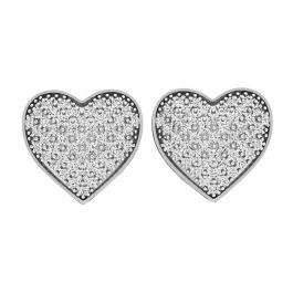 0.35 Carat (ctw) 10K White Gold Round White Diamond Ladies Heart Shape Stud Earrings 1/3 CT