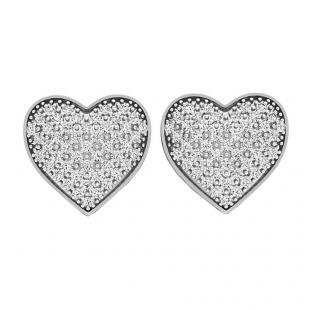 0.35 Carat (ctw) 10K White Gold Round White Diamond Ladies Heart Shape Stud Earrings 1/3 CT
