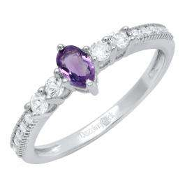 Sterling Silver 5X3 MM Oval Amethyst, Round White Sapphire & Diamond Ladies 5 Stone Engagement Ring