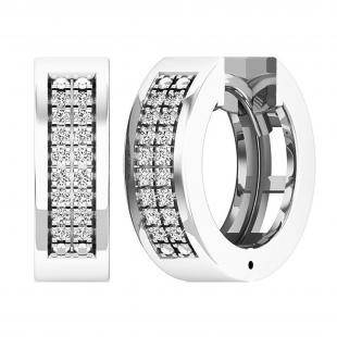 0.12 Carat (ctw) Sterling Silver Round White Diamond Mens Ladies Unisex Huggies Hoop Earrings