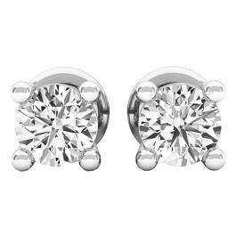 0.35 Carat (ctw) 10K White Gold Round White Diamond Ladies Stud Earrings 1/3 CT