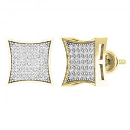 0.30 Carat (ctw) 18K Yellow Gold Plated Sterling Silver Round Diamond Mens Stud Earrings 1/3 CT