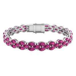 Sterling Silver Marquise Tourmaline Ladies Tennis Bracelet (7 Inch Length x 7.30 MM Wide)