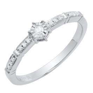 0.10 Carat (ctw) Sterling Silver Round White Diamond Bridal Engagement Ring