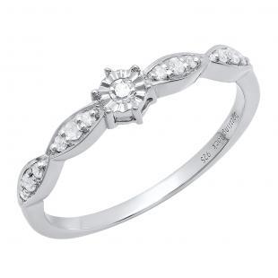 0.20 Carat (ctw) Sterling Silver Round White Diamond Bridal Engagement Ring