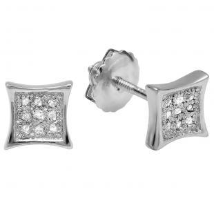 0.05 Carat (ctw) 10K White Gold Round Diamond Kite Shape Mens Hip Hop Stud Earrings