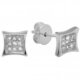 0.05 Carat (ctw) 14K White Gold Round Diamond Kite Shape Mens Hip Hop Stud Earrings