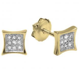 0.05 Carat (ctw) 18K Yellow Gold Round Diamond Kite Shape Mens Hip Hop Stud Earrings