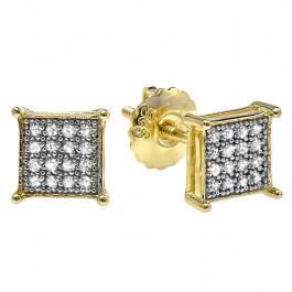 0.25 Carat (ctw) 18K Yellow Gold Plated Silver Round Diamond Men's Hip Hop Iced Stud Earrings 1/4 CT