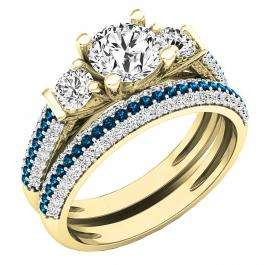 10K Yellow Gold Round White Sapphire, Blue & White Diamond Bridal Engagement Ring Set