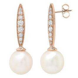 10K Rose Gold 8 MM Each Round White Freshwater Pearls & Diamond Ladies Drop Earrings
