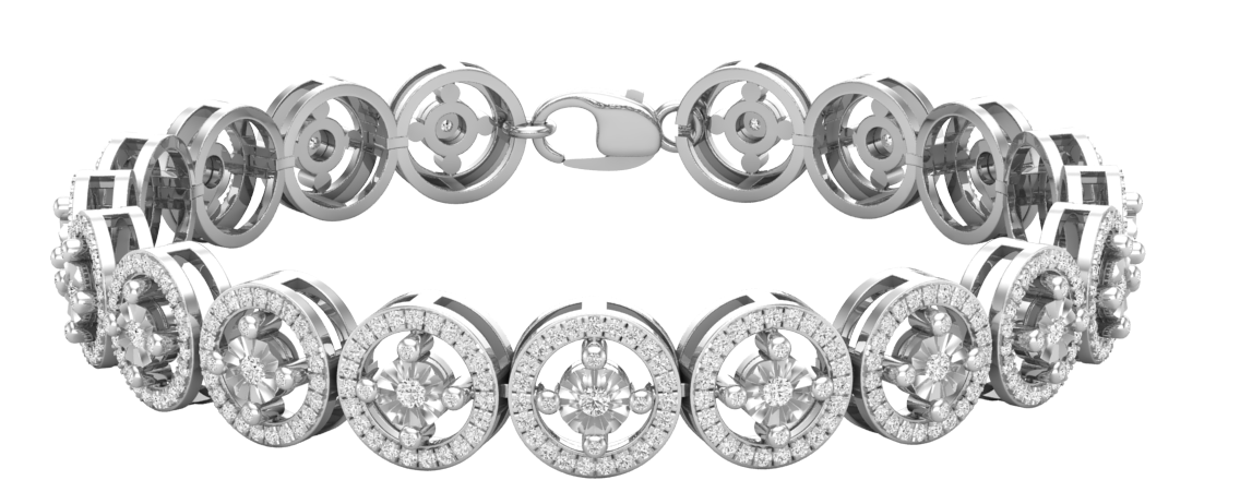 1.50 Carat (ctw) 10K White Gold Round Lab Grown White Diamond Ladies Tennis Bracelet 1 1/2 CT