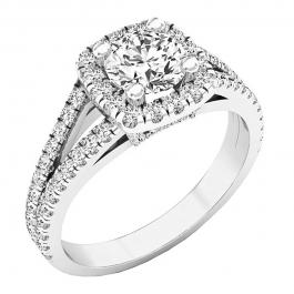 2.25 Carat (ctw) 10K White Gold Round White Cubic Zirconia Ladies Split Shank Halo Engagement Ring