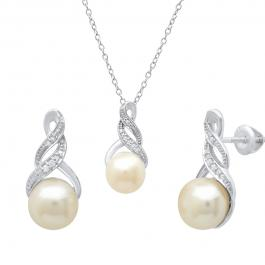 Sterling Silver Round Freshwater Pearl & Diamond Accent Ladies Stud Earring & Pendant Set