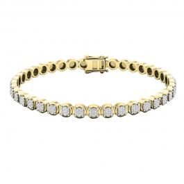 1.00 Carat (ctw) 10K Yellow Gold Round White Diamond Ladies Tennis Bracelet 1 CT