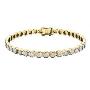 1.00 Carat (ctw) 10K Yellow Gold Round White Diamond Ladies Tennis Bracelet 1 CT