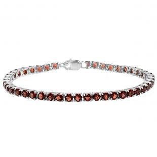 Sterling Silver Round Genuine Garnet Ladies Tennis Bracelet