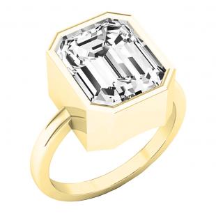 18K Yellow Gold 11X9 MM Emerald White Topaz Ladies Bezel Set Solitaire Engagement Ring