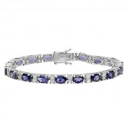 Sterling Silver Oval Iolite & Round White Topaz Ladies Tennis Bracelet