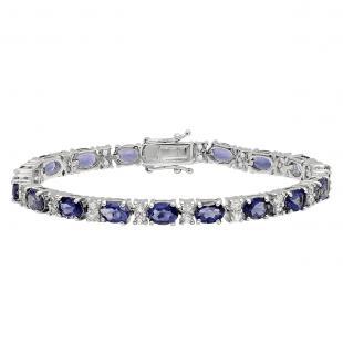 Sterling Silver Oval Iolite & Round White Topaz Ladies Tennis Bracelet