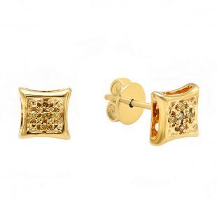 0.15 Carat (ctw) Sterling Silver Round Yellow Diamond Micro Pave Setting Kite Shape Stud Earrings
