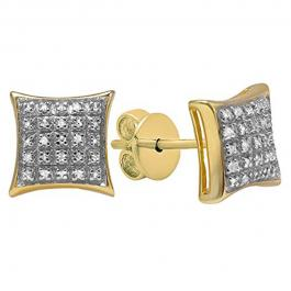 0.20 Carat (ctw) 18K Yellow Gold Plated Silver Round Diamond Men's Hip Hop Stud Earrings 1/5 CT