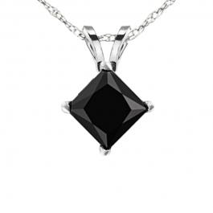 1.00 Carat (ctw) 14K White Gold Princess Black Diamond Ladies Solitaire Pendant 1/4 CT