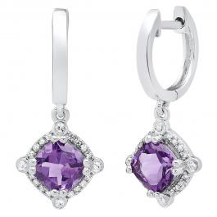 14K White Gold 6 MM Each Cushion Amethyst & Round White Diamond Ladies Drop Earrings