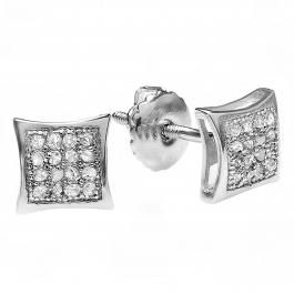 0.05 Carat (ctw) Sterling Silver Platinum Plated Round Diamond Kite Shape Men's Iced Stud Earrings