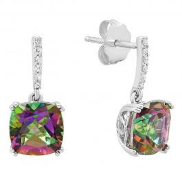 Sterling Silver 8 MM Each Cushion Mystic Topaz Ladies Drop Style Dangling Earrings