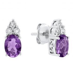 Sterling Silver 7X5 MM Each Oval Amethyst & Round White Diamond Ladies Stud Earrings