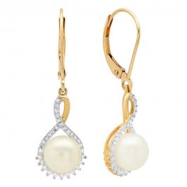 10K Yellow Gold 7.5 MM Each Round Pearl & White Diamond Ladies Dangling Drop Earrings