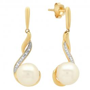 0.12 Carat (ctw) 14K Yellow Gold 8 MM Each Pearl & Round White Diamond Ladies Dangling Drop Earrings