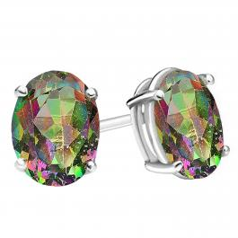 14K White Gold Each 7X5 MM Oval Mystic Topaz Ladies Solitaire Stud Earrings