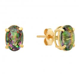 14K Yellow Gold Each 7X5 MM Oval Mystic Topaz Ladies Solitaire Stud Earrings