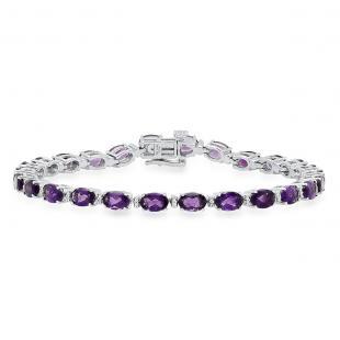 Sterling Silver 4X6 MM Oval Amethyst & Round White Diamond Ladies Tennis Bracelet