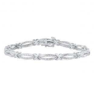 0.25 Carat (ctw) Sterling Silver Round White Diamond Ladies Infinity Tennis Link Bracelet 1/4 CT